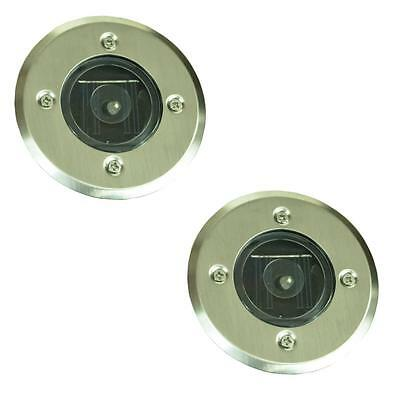 Pack Of 2 LED Recessed Ground Outdoor Pathway Garden Drive Solar Light Lights