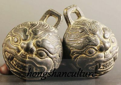 A Pair Ancient Chinese Bronze Bell Old Dragon Head Bronze Bells