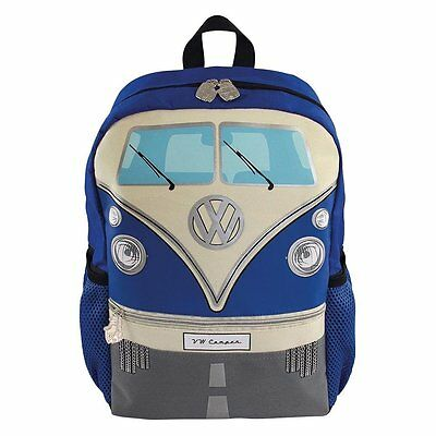 Blue Vw Camper Van Kids Backpack Rucksack School Bag Camping Bulli Transporter