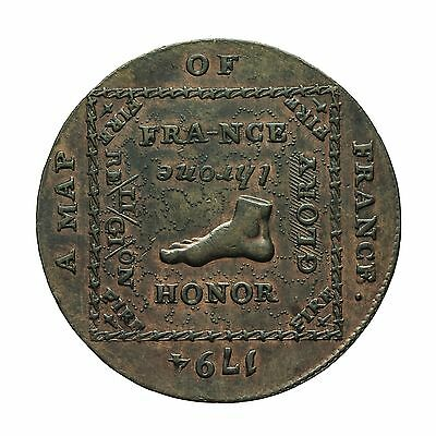 Middlesex Map Of France Halfpenny Token 1794