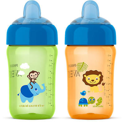 Avent My Sip N Click 2 Pack 12 Ounce Sippy Cup - Green and Orange