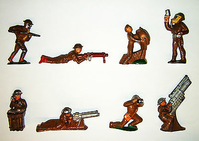 8 Vollplastische Soldaten, Hohlguss Figuren, Art Deco, Manoil, Made in USA, 30er