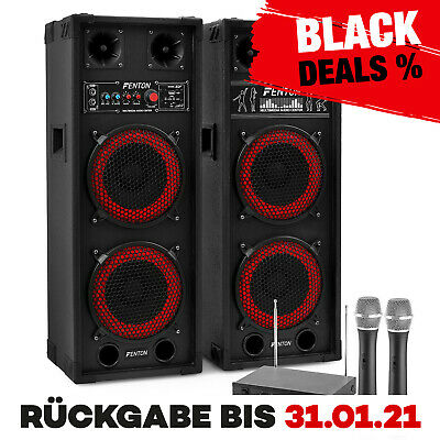 Dj Pa Karaoke Musik Anlage Aktiv Lautsprecher Usb Sd Mp3 Player 2 Funk Mikro Set