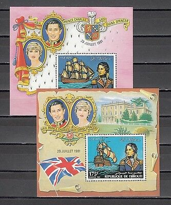/ Djibouti, Scott cat. 531-532. Lord Nelson s/sheets with Lady Diana in design.