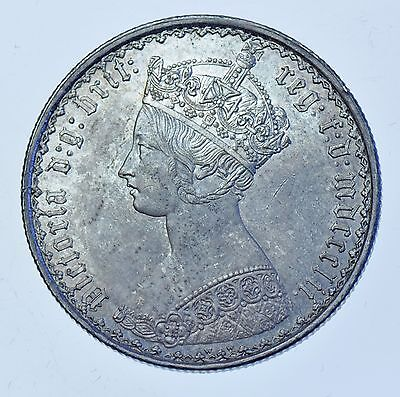 1852 Gothic Florin, British Silver Coin From Victoria Unc