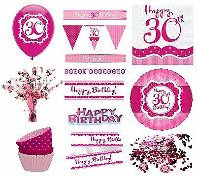 PERFECTLY PINK Girl Age 30 Happy 30th Birthday PARTY ITEMS Decorations Tableware