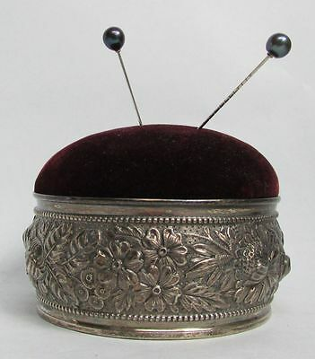 Marvelous 1890 Gorham 3D High Relief Repousse' Sterling Silver Pin Cushion