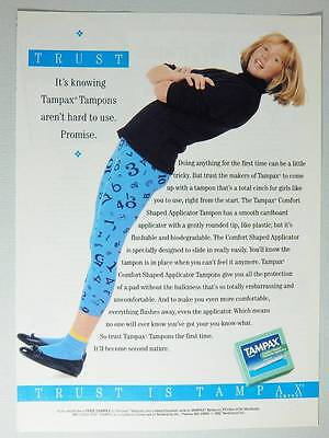 1992 Tampax Tampons Vintage Magazine Ad Page - Cute Young Girl - First Period