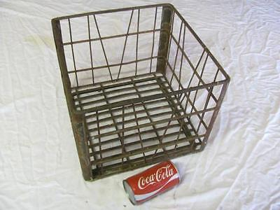 Antique Vintage Wire Metal Milk Bottle Crate Sanitary Dairy 1958 Rustic Decor