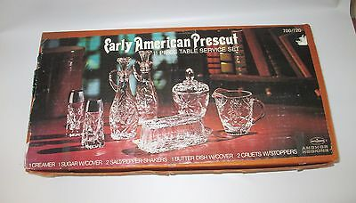 Anchor Hocking Early American Prescut 11 Piece Table Service Boxed Mint USA