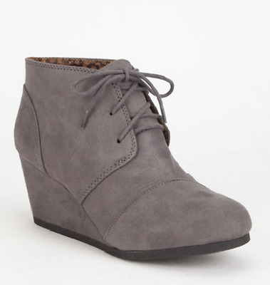 Women's SODA REX Gray Faux Suede Wedge Fashion Dress Lace-up Bootie Shoes NEW