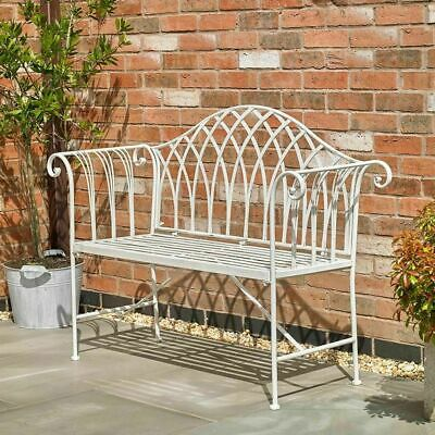 Cream Garden Patio Bench Outdoor 2 Seater Ornate Vintage Style Metal Country