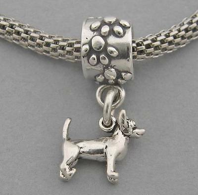 3D CHIHUAHUA DOG Sterling Silver European PAWS Dangle Bead Charm  3538