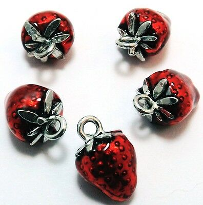 Five (5) Pewter Hand Painted Red Enameled Strawberry Charms - 0831