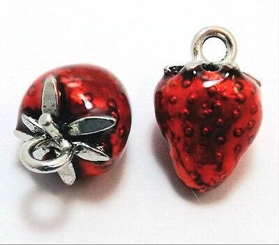 Two (2) Pewter Hand Painted Red Enameled Strawberry Charms - 0831