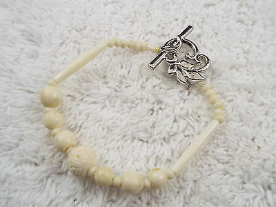 Carved Steer Bone Bead Bracelet  (C37)