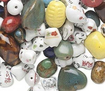 Assorted Porcelain Bead Lot of mixed color, shape & Size Approx weight 1 lb