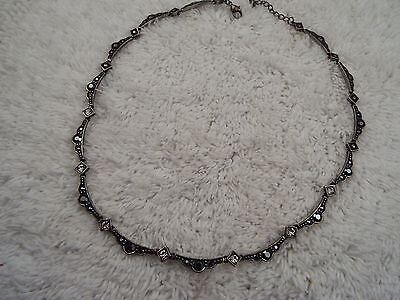 Pewtertone Scalloped Link Faux Marcasite Necklace (C37)