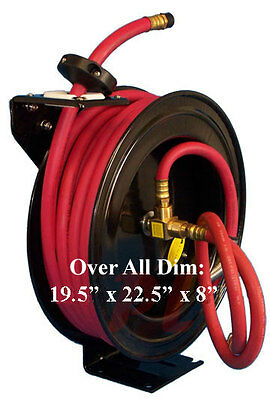 "100' x 1/2"" Wall Truck Mountable Retractable Air Hose Reel Rubber 300 PSI"