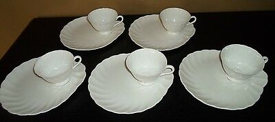 (5) Tuscan WHITECLIFFE Snack Plate & Cup Sets  ENGLAND
