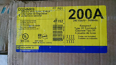 Square D H324NRB 200amp 240v fused disconnect Nema 3R safety switch New!