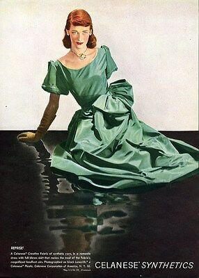 GREEN EVENING GOWN by Celanese Fashion Ad Page 1947 Mandelbaum on Back Side