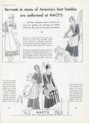 SERVANTS UNIFORMS from 1930 MACY'S Department Store New York City Maids Cooks