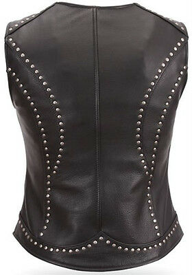 Taylor Women's Black Leather Motorcycle Vest with Zip Front & Riveted Detail