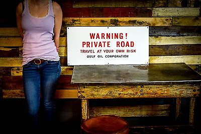 Old Porcelain DANGER Private Road Sign Gulf Oil Gas Station RARE Man Cave Piece