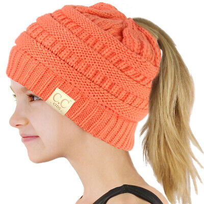 84e3689fc5b6f CC KIDS GIRLS Beanietail Messy Bun Ponytail Stretch Knit Beanie Hat ...