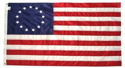 BETSY ROSS 3x5 ft Flag NYLON Sewn Embroidered Stars & Sewn Stripes Made in USA