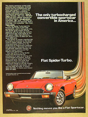 1982 Fiat Spider Turbo red convertible photo vintage print Ad
