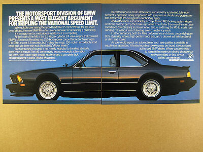 1987 BMW M6 Coupe black car color photo vintage print Ad