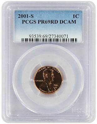 2001-S Lincoln Cent PR69RD DCAM PCGS Proof 69 Red Deep Cameo