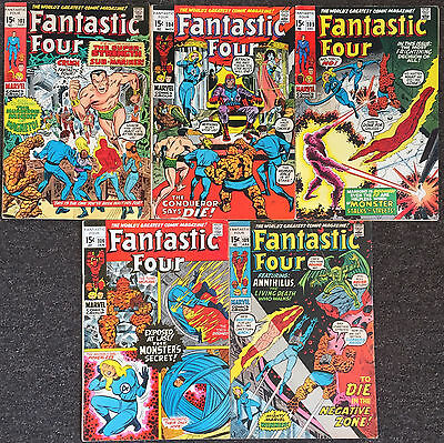 Fantastic Four ( Series 1 ) # 102 104 105 106 109 Marvel Comics Lot Fine