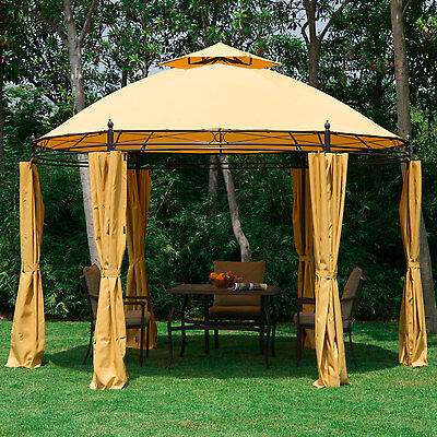 3.5m Garden Patio Metal Gazebo Marquee Party Tent Pavilion Shelter + Sidewalls