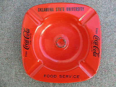 VINTAGE 1960s OKLAHOMA STATE UNIVERSITY OSU COCA-COLA FOOD SERVICE STEEL ASHTRAY