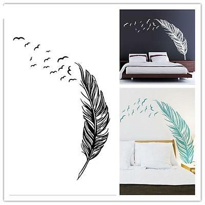 Removable Vinyl Decal Wall Birds Flying Feather Decal DIY Sticker Art Decor SP