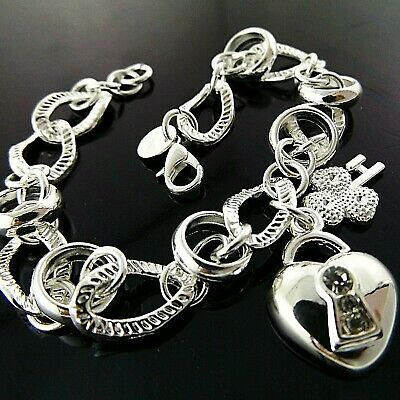 A+A867 Genuine Real 925 Sterling Silver S/f Ladies Heart Charm Bracelet Bangle