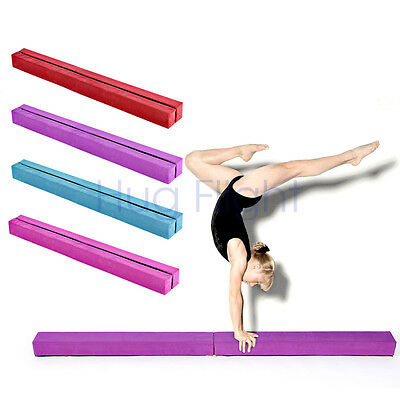 Gymnastics Folding Balance Beam 1.6M Kids Gym Suede Leather Home Training