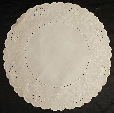 "Lovely Victorian Doily Centerpiece Raised Floral Embroidery 21"" Round"