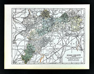 1900 Ireland Map - Kings County - Tullamore Edenberry Birr Frankford Ferbane