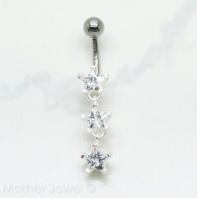 Real 925 Sterling Silver Triple 7Mm Star Cz 316L Surgical Steel Belly Bar Ring