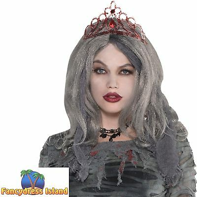 ZOMBIE BLOOD JEWEL TIARA HALLOWEEN Ladies Womens fancy dress costume accessory