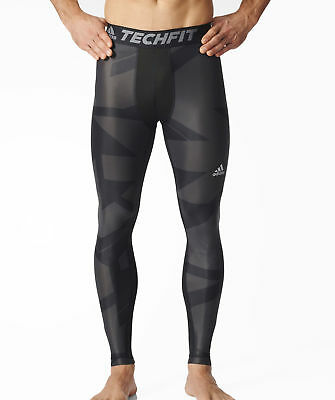 adidas Tech-Fit Chill GFX Mens Long Compression Tights - Black