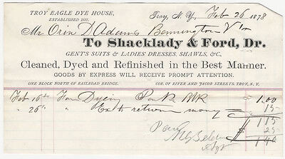 1878 Troy New York Clothes Dyeing Receipt -Shacklady & Ford