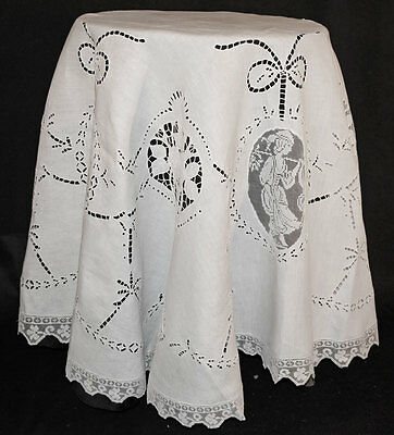 "Antique Round Italian Figural Tablecloth 73"" Filet Lace Needlelace Embroidery"