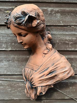 "Female Art Nouveau wall plaque bust fragment ""Josephine"" stone ornament 38cm/15"""