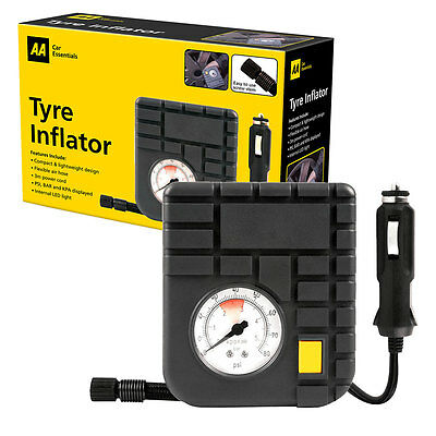 AA Compact 12V Air Tyre Inflator LED Light  Uses 12V Cigar, Power Outlet Socket