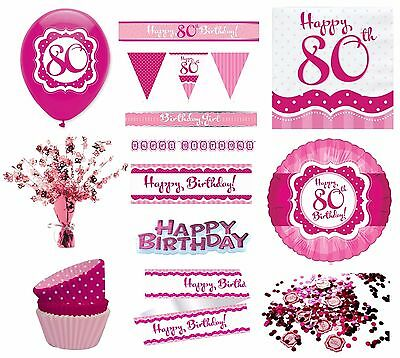 PERFECTLY PINK Girl Age 80 Happy 80th Birthday PARTY ITEMS Decorations Tableware
